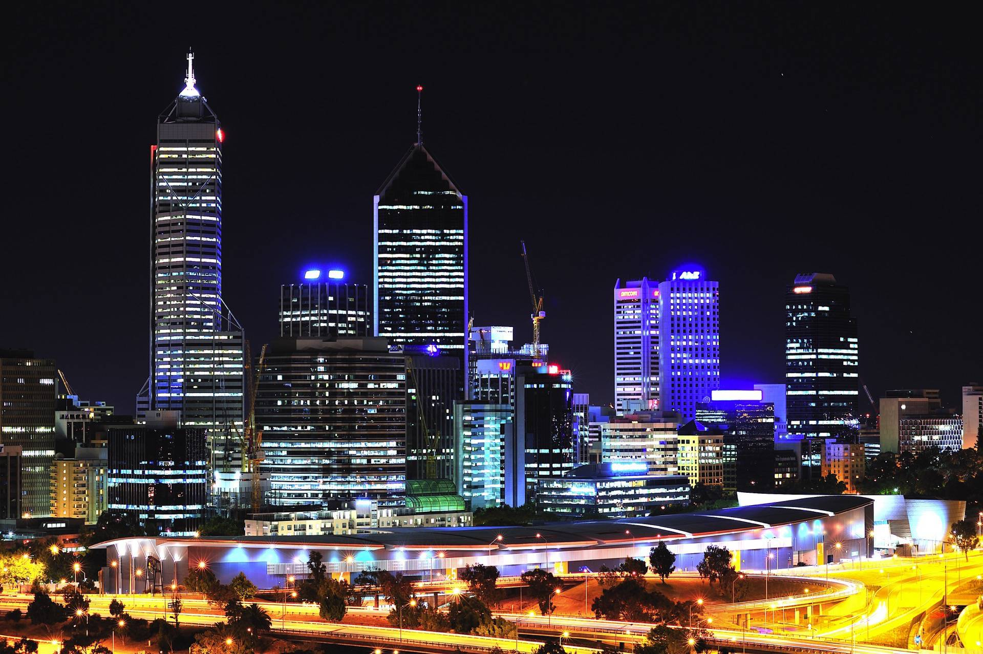 A panoramic night view of the City of Perth from the Kings park